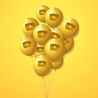 Conjunto de globos dorados con el logotipo de youtube