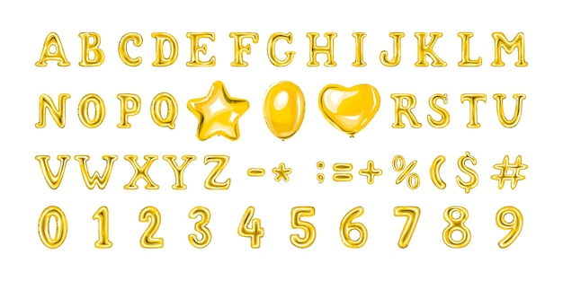 Conjunto de globos dorados con números y letras. globo de helio en forma de corazón y estrella.