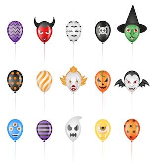 Conjunto de globos de fiesta de halloween aislados