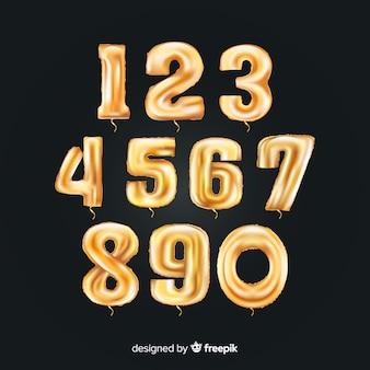 Conjunto de globos de números dorados
