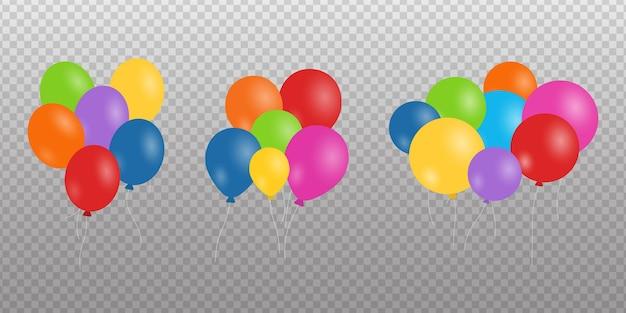 Conjunto de globos realista aislado sobre fondo transparente