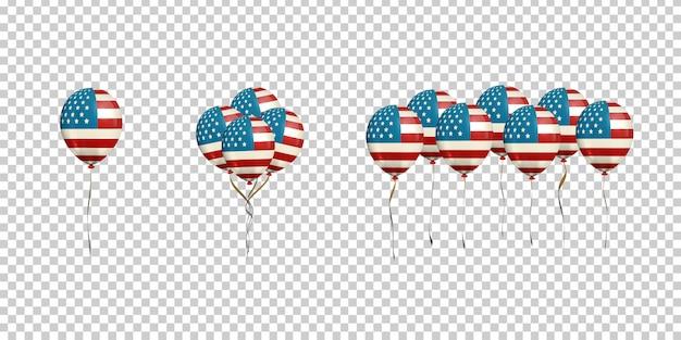 Conjunto de globos realistas con bandera americana para decoración y revestimiento en el fondo transparente.