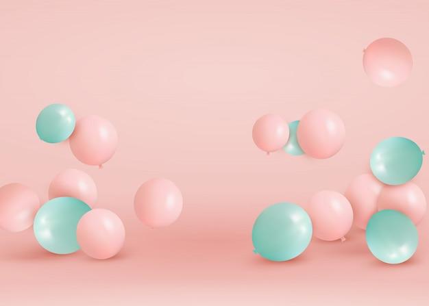 Conjunto de globos rosas, verdes volando en el piso. celebre un cumpleaños, póster, pancarta feliz aniversario. elementos de diseño decorativo realista. fondo festivo de color rosa pastel con globos de helio.