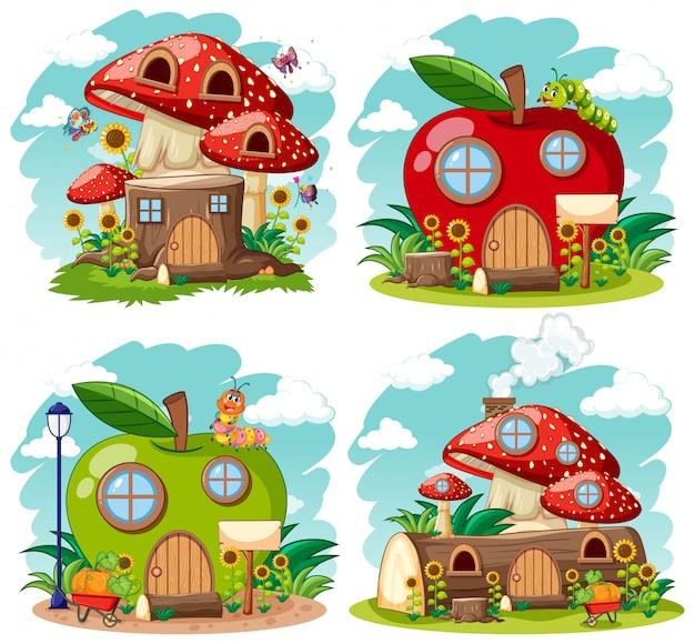 Conjunto de gnomo aislado casas de cuento de hadas estilo de dibujos animados sobre fondo blanco