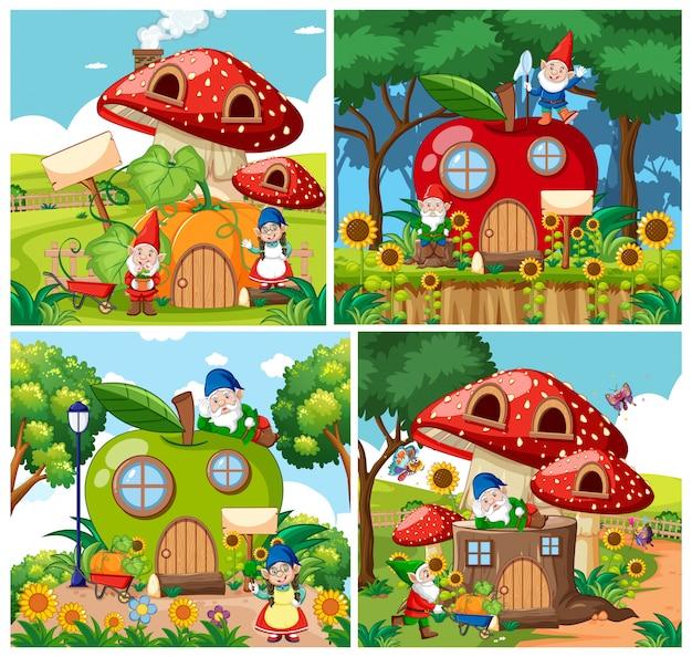 Conjunto de gnomo aislado casas de cuento de hadas estilo de dibujos animados sobre fondo de jardín