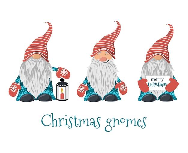 Conjunto de gnomos navideños