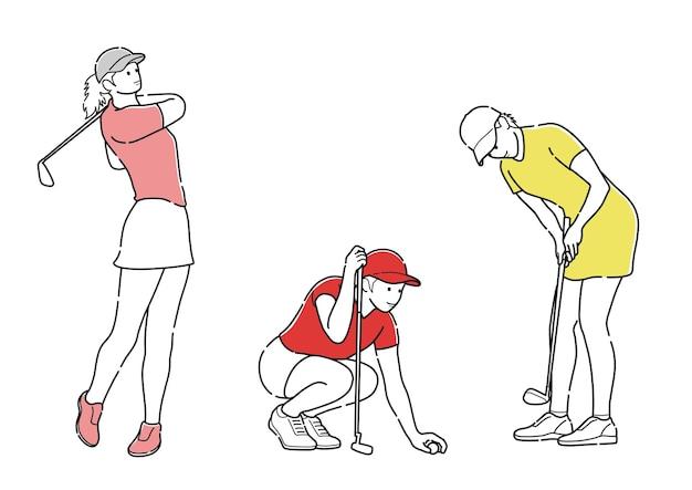 Conjunto de golfistas vector dibujos de líneas simples aisladas sobre fondo blanco