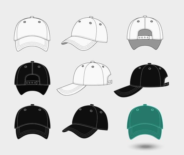 Conjunto de gorras de béisbol