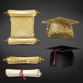 Conjunto con gorras de graduación negras y doradas, diplomas brillantes.
