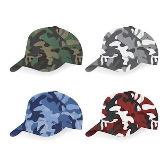 Conjunto de gorras militares con estampado de camuflaje.