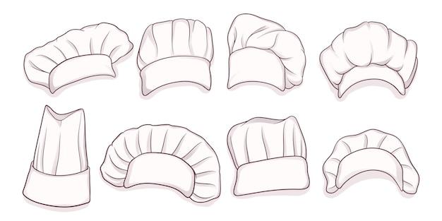 Conjunto de gorro de cocinero dibujado a mano