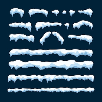 Conjunto de gorro de nieve aislado sobre fondo azul. elemento de decoración de año nuevo y navidad.