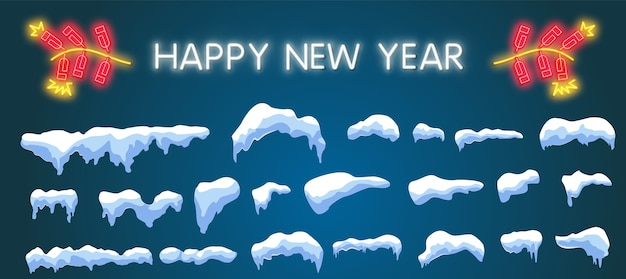 Conjunto de gorros de nieve, bolas de nieve y ventisqueros de estilo de dibujos animados. elemento de decoración de invierno. ilustración