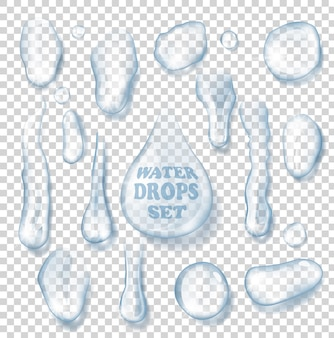 Conjunto de gotas de agua aisladas