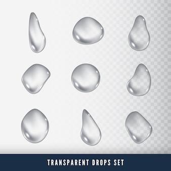 Conjunto de gotas. gota líquida clara. rocío sobre la superficie del vidrio. sobre fondo transparente