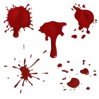 Conjunto de gotas y salpicaduras de sangre realistas