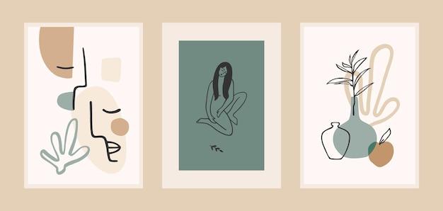 Conjunto de grabados de arte contemporáneo. arte lineal.