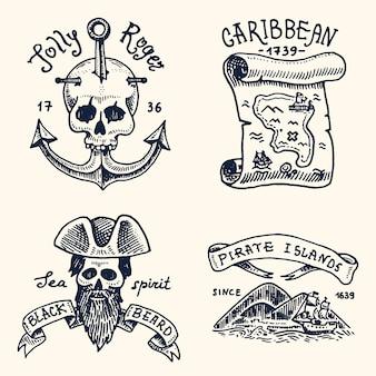 Conjunto de grabados, dibujados a mano, viejos, etiquetas o insignias para corsarios, calavera anclada, mapa del tesoro, barba negra, isla caribeña. bandera pirata.