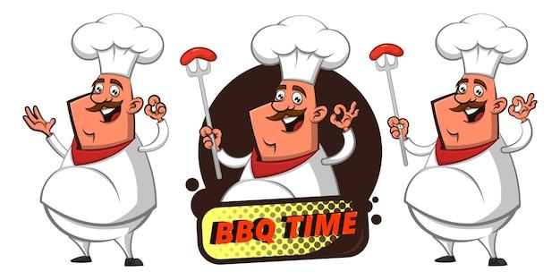 Conjunto de gracioso big fat chef mostrando salchicha a la parrilla con delicioso gesto de la mano