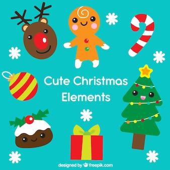Conjunto gracioso de elementos de navidad