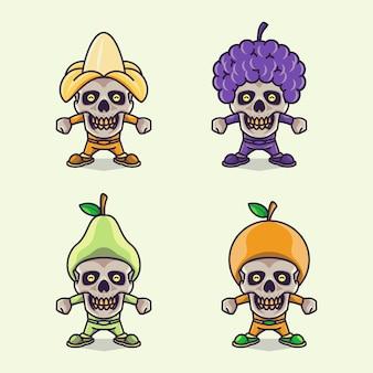 Conjunto de gracioso personaje de calavera linda con sombreros de frutas