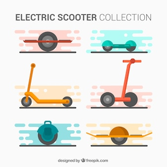 Conjunto gracioso de scooters electrónicos