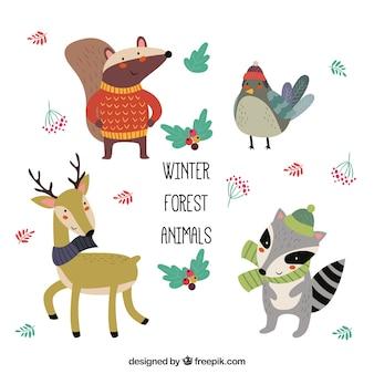 Conjunto de graciosos animales de invierno