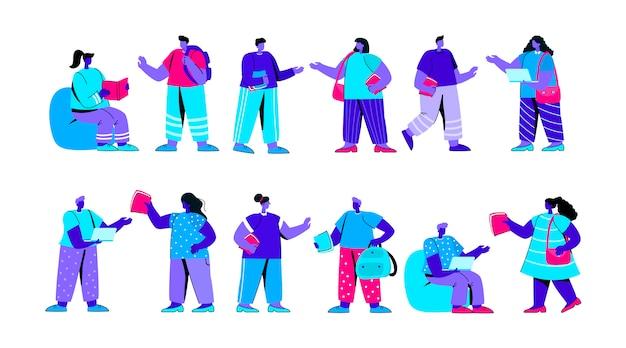 Conjunto de graciosos estudiantes universitarios o universitarios personaje de gente plana azul