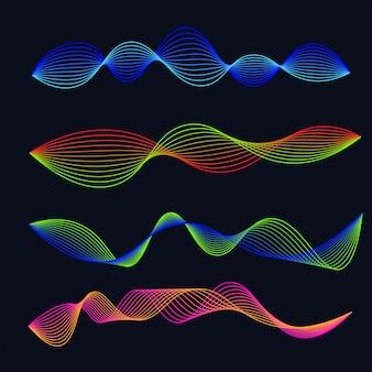 Conjunto de gradiente de ondas de sonido de línea. forma de onda de audio
