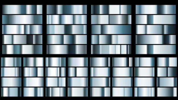 Conjunto de gradientes de metal en colores azul claro.