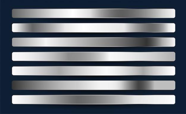 Conjunto de gradientes metálicos de aluminio cromo platino plateado