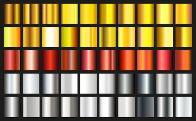 Conjunto de gradientes metálicos. colección de efectos degradados de oro, plata y bronce. vector