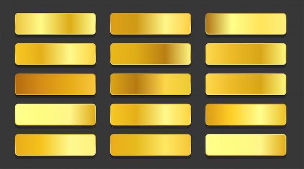 Conjunto de gradientes metálicos degradados de oro amarillo