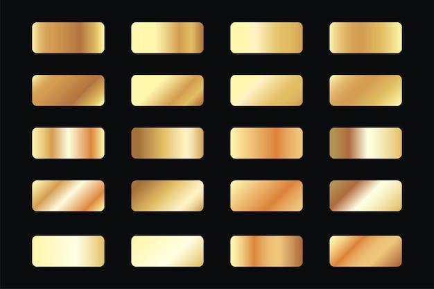 Conjunto de gradientes de oro metálico.