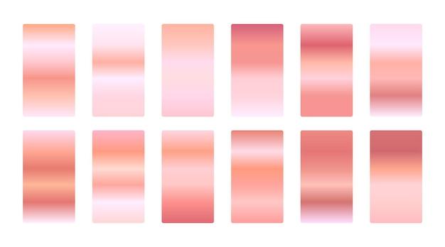 Conjunto de gradientes de oro rosa premium