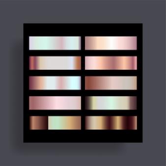 El conjunto de gradientes de oro rosa