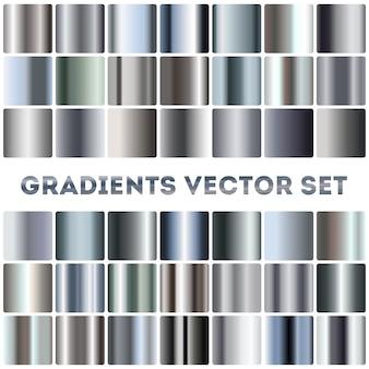 Conjunto de gradientes de plata, acero y cromo