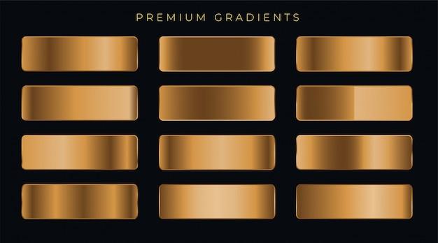 Conjunto de gradientes premium cobre metalizado.