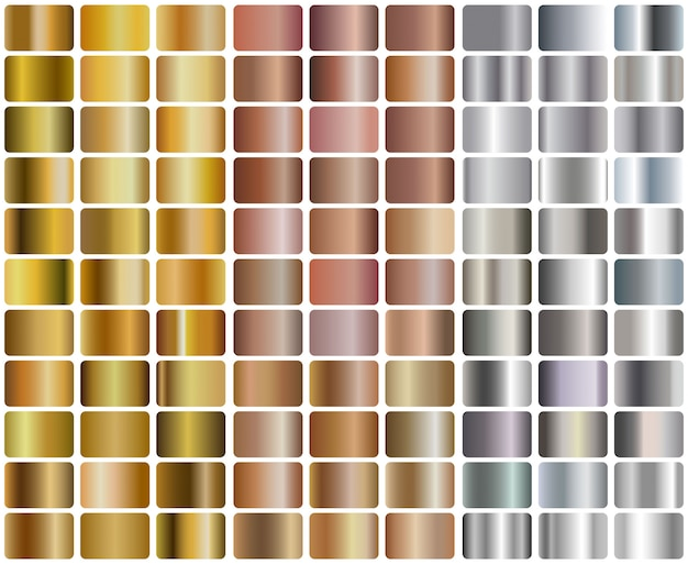 Conjunto de gradientes realistas de plata, oro rosa y oro