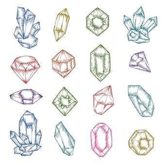 Conjunto gráfico de cristales dibujados a mano