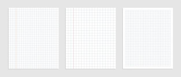 Conjunto gráfico de hojas de papel en blanco para la representación de datos
