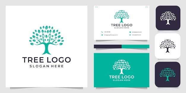 Conjunto gráfico de ilustración de logotipo de árbol moderno femenino