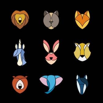 Conjunto de gráfico lineal de cabezas de animales.