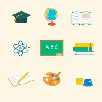 Conjunto gráfico plano de vector de icono educativo