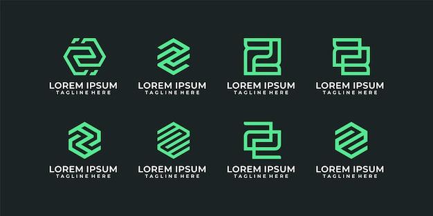 Conjunto de gráfico vectorial del logotipo de la letra z corporativa del monograma mínimo creativo