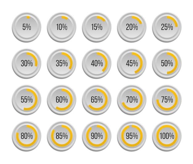 Conjunto de gráficos circulares de porcentaje infográfico aislado