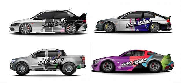 Conjunto de gráficos de coche para vinilo y adhesivo