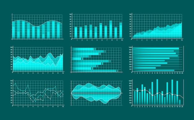 Conjunto de gráficos comerciales. infografías y diagnósticos, gráficos y esquemas.
