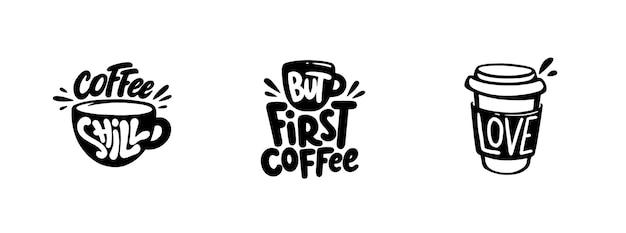 Conjunto de gráficos de cotizaciones de café, logotipos, etiquetas e insignias.