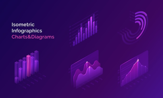 Conjunto de gráficos y diagramas de infografía isométrica